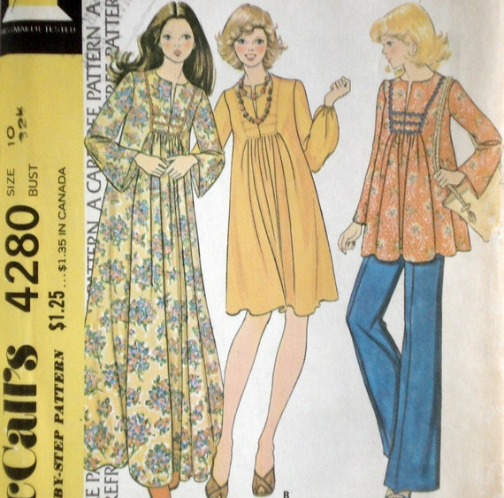 Vintage 70s Boho Maxi Dress or Tunic Maternity Pattern McCall's 4280 Bust 32.5 Factory Folded