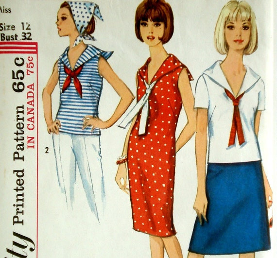 Vintage 1960s Sailor Collar Dress Pattern Simplicity 5807 Bust 32