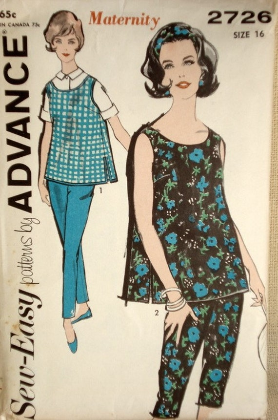 1960s vintage maternity clothes advance pattern 2726