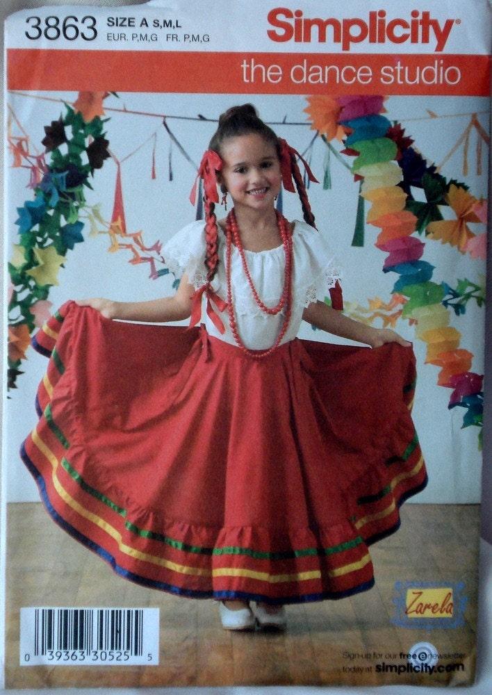 Child S Baile Folklorico Costume Pattern Simplicity 3863