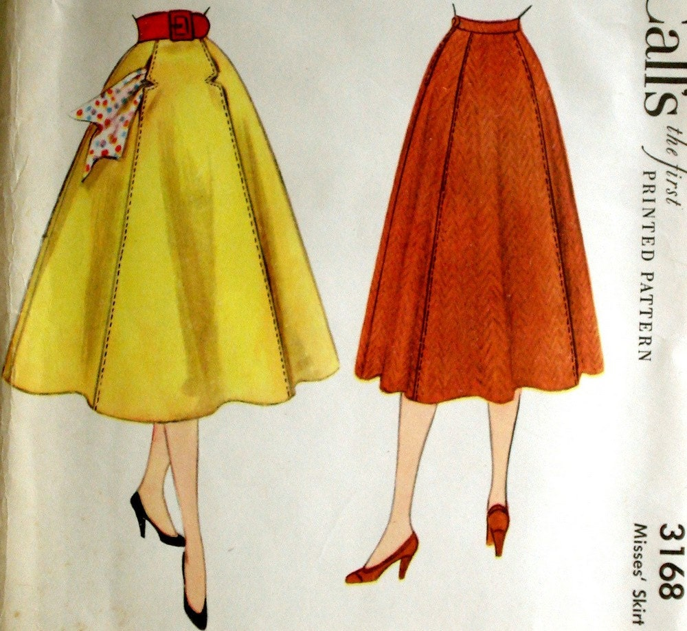 Vintage 1950s Flared Four Gore Skirt Pattern Mccall S 3168