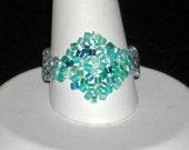 Aquamarine Blue Square-on-its-Side Ring