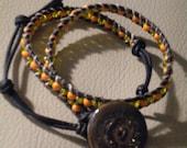 Orange Yellow Glass Beads Hemp Wrapped Leather Bracelet Choker Hand Made Ceramic Bead Button Closure Adjustable