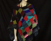 Textural Patchwork Ranging Colors Womans Poncho and Scarf  Recycled Sweaters With Appliques As Unique Fiber Art To Wear