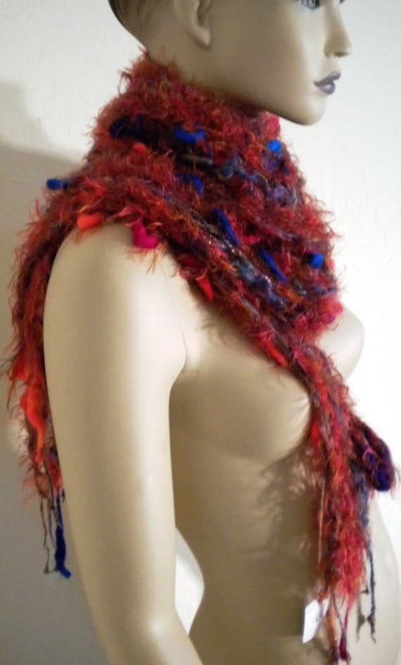 Hand Knit Multiple Exotic Yarns Textural Long Soft Scarf Shawl Wrap Wearable Fiber Art