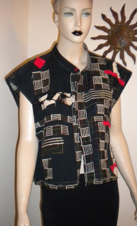 RESERVED FOR LESLIE-Cotton Black White Red Asian Influencef Womans Vest Painted Applique Button Closure Inside Hidden Pocket Wearable Fiber