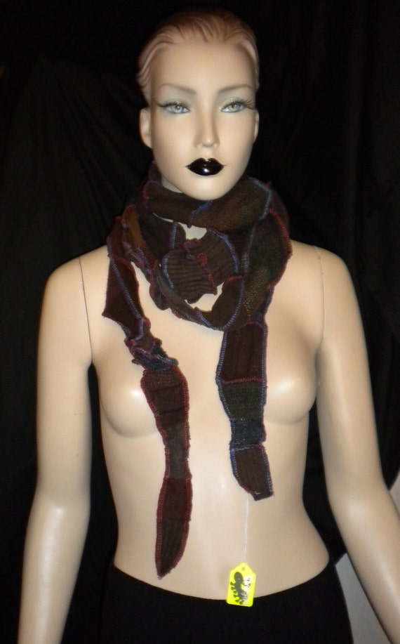 Long Upcycled Recycled Sweater Fiber Art Scarf Browns ChocolateTans Striped Gift Unisex Fashion Fantasy Fun Fusion