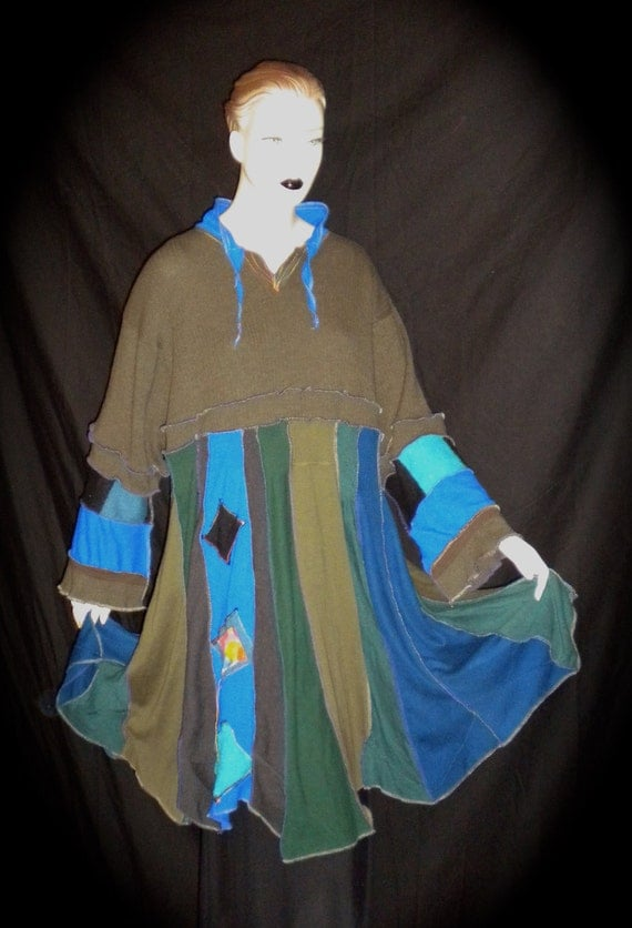 Sweater Dress Tunic Woman Greens Blues With Hand Painted Appliques Recycled Upcycled  Long Sleeve Nothing Itchie Hippy Boho