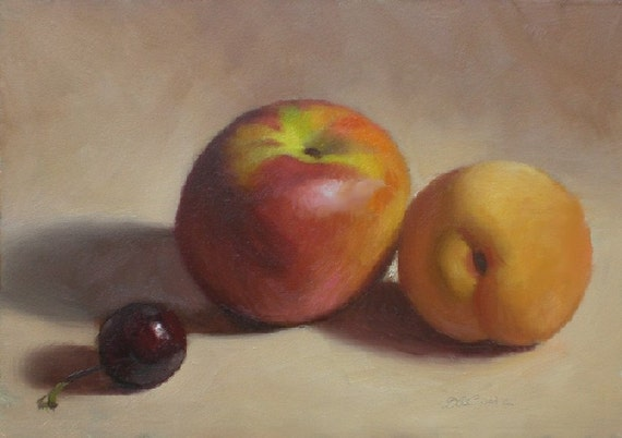 Original Oil Painting, Nectarine and Apricot