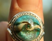 Lampwork Glass and Sterling Silver Ring