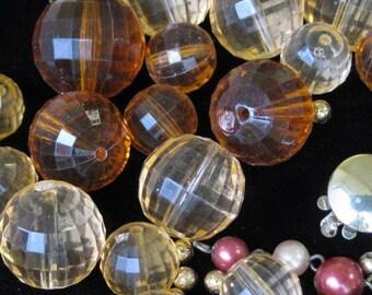Brown peach vintage plastic beads unstrung necklace