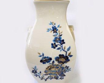 Cream blue floral vintage Lenox urn vase