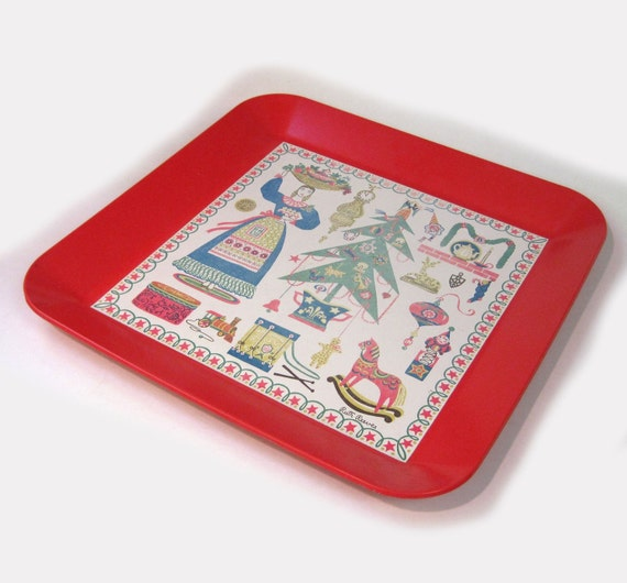Red plastic folk art Christmas serving tray