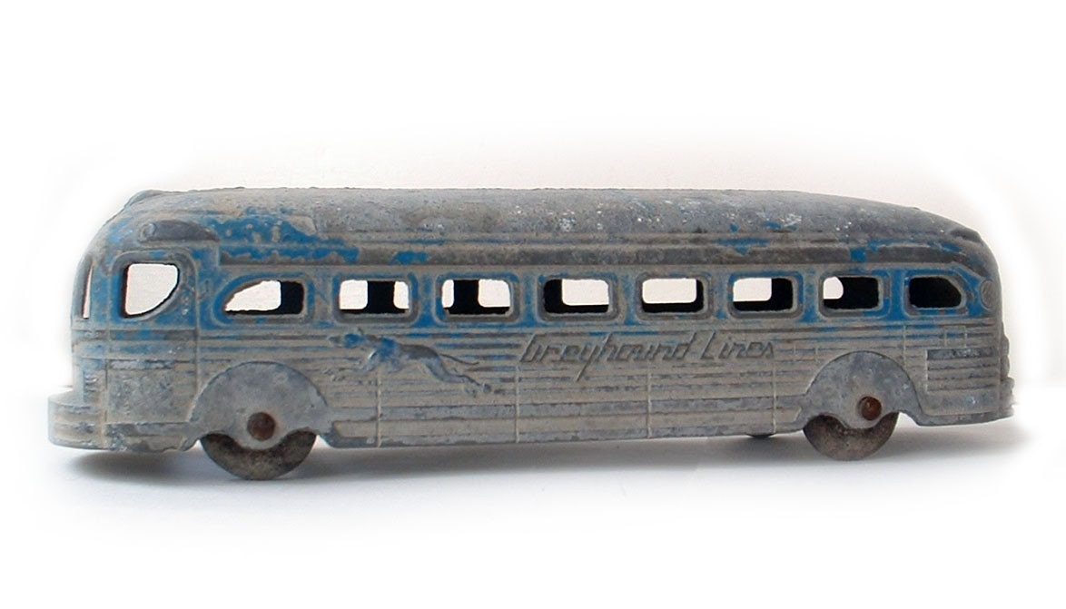 Vintage Greyhound Lines Metal Toy Bus