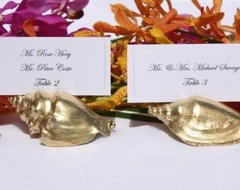 Beach Wedding Gold Shell Place Card Holders (Set of 100) ON SALE