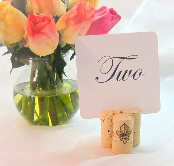 Wine Cork Table Numbers: Fleur De Lis Wine Cork Table Card Holder Set Of 20 With 20