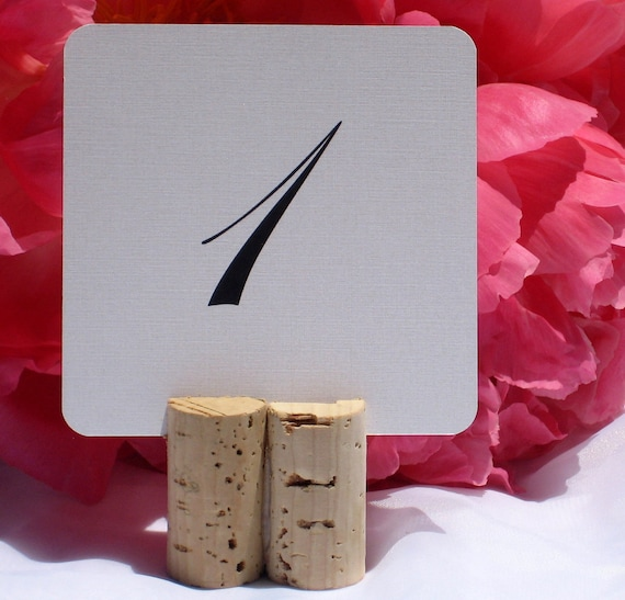 Wine Cork Table Numbers: Plain Wine Cork Table Number And Table Card Holders-Set Of 10