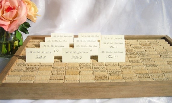 Wine Cork Wedding Place Card Holder  Box/Tray- (set of 3 boxes) reserved for Nitin