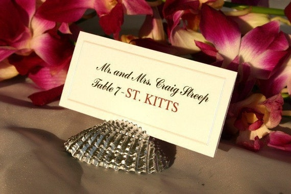 Beach Wedding + Place Card Holder + Silver shell place card holders- set of 100