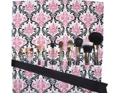 Makeup Brush Roll, Damask, Pink/Black/White - In Stock Ready to Ship
