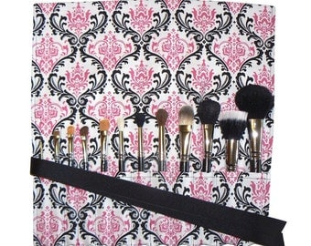 LIMITED - Makeup Brush Roll, Damask, Pink/Black/White - In Stock Ready to Ship