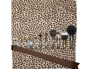 Makeup Brush Roll Holder Organizer,  Leopard, Brown/Cream - In Stock Ready To Ship