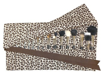 Large Makeup Brush Roll Holder, Leopard, Brown/Cream - In Stock Ready To Ship
