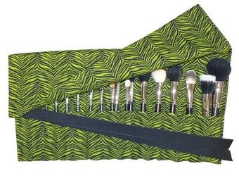 Large Makeup Brush Holder Organizer Case,  Zebra/Tiger, Green and Black