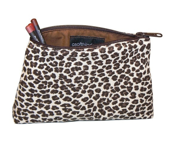 Makeup Bag, Leopard Brown and Cream - In Stock Ready To Ship