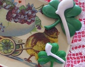 Vintage Shamrock with Pipe Pins Brooches