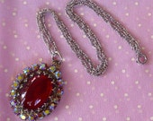 Vintage Aurora Borealis Rhinestones Red Glass Cabochon Pendant Necklace