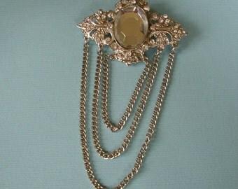 Rhinestone & Chains Brooch Vintage
