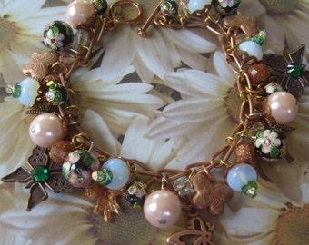 Copper Butterflies and Cloisonne Charm Bracelet