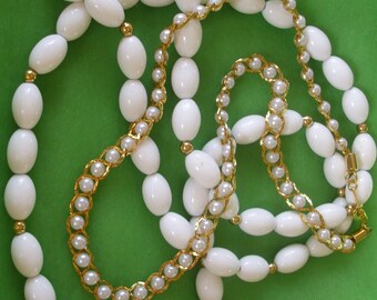 Two Vintage White and Gold Tone Necklaces One Signed