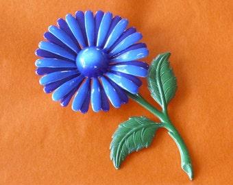 Vintage Blue Enamel Flower Pin Brooch