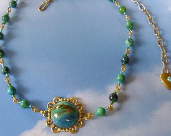 Earth Green Blue Turquoise Necklace