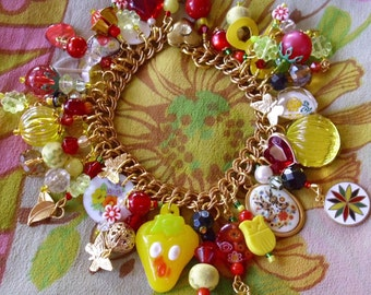 Cheerful Yellow EcLectic Charm Bracelet