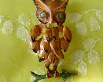 Vintage Signed Enamel OWL Pin Brooch
