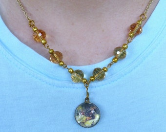 Dreaming... Bubble Pendant Faceted Golden Necklace