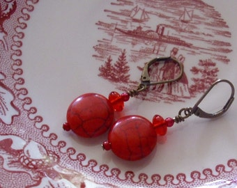 Red Coral Coin Earrings