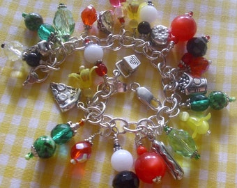 Fast Foodie Sterling Silver Charm Bracelet