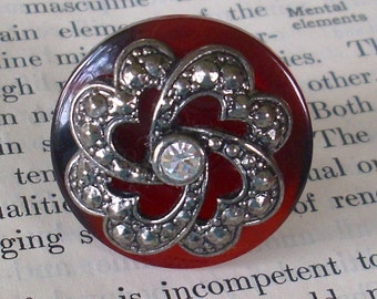 Vintage Mahogany Button And RePurposed Rhinestone Flower Ring