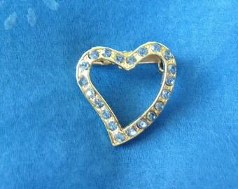 Blue Heart Vintage Rhinestone Brooch Pin