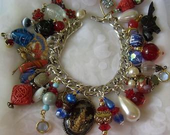 Vintage Asian Inspired Charm Bracelet SALE
