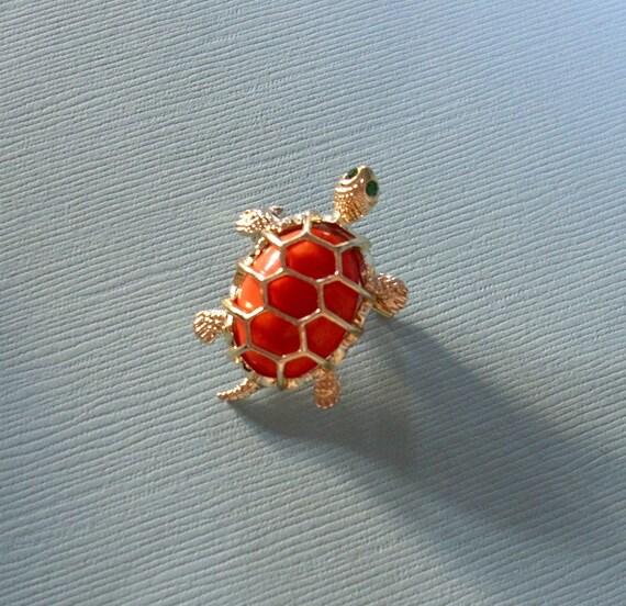 Vintage Faux Coral Turtle Brooch