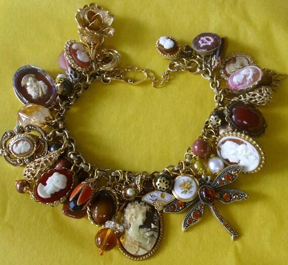 Amber Tiger's Eye Goldstone CAMEO Charm Bracelet Vintage EclEcTic Original
