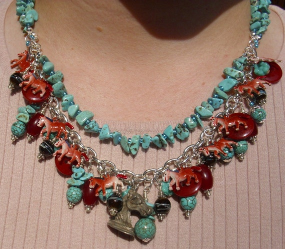 Stampede Knight Horses Turquoise Necklace ooak