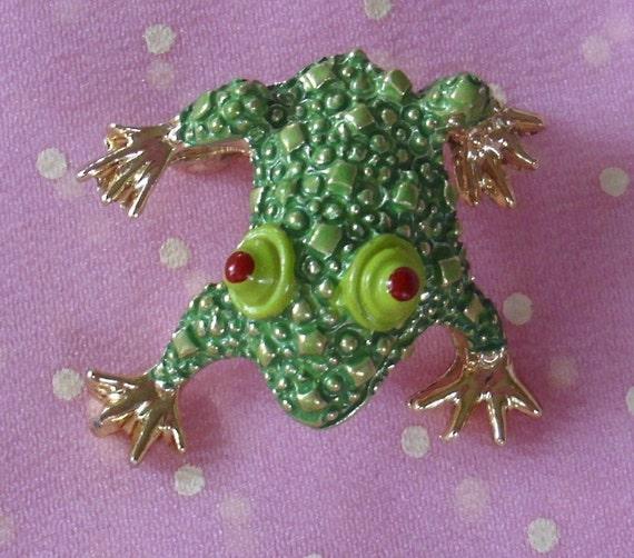 Vintage Green Bumpy Frog Brooch