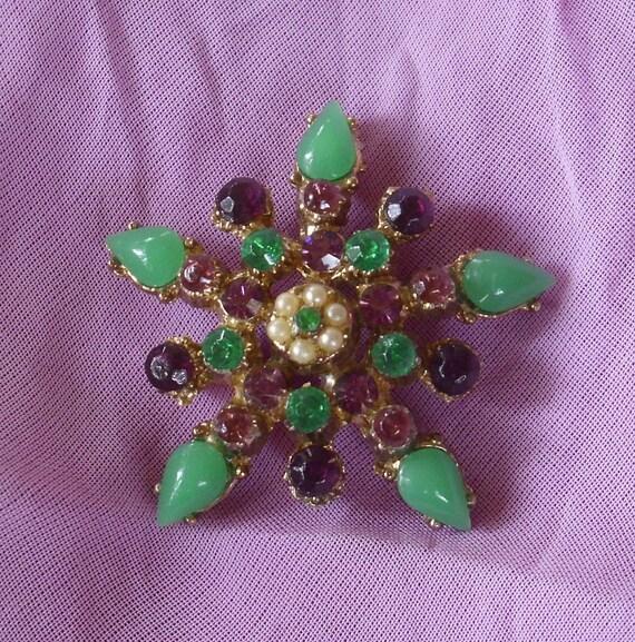 Vintage Purple and Green Rhinestone Star Pendant