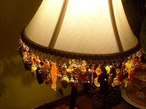 Autumn Halloween Fringe Lampshade ooak